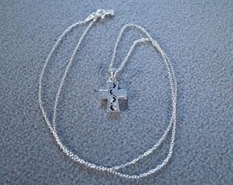 Vintage Sterling Silver Jet Black Enameled Cross Foot Print Poem Pendant Charm Slide Necklace Chain    **RL
