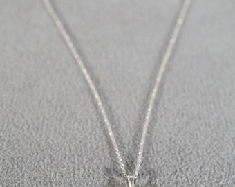 Vintage Sterling Silver 16 Round White Topaz Fancy Religious Cross Pendant Charm Necklace Chain #416 **RL
