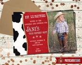 Cowgirl Birthday Photo Invitation | Cowboy Birthday Invitation | Card | Digital | file | invite | Cow | barn | farm | girl | boy | party