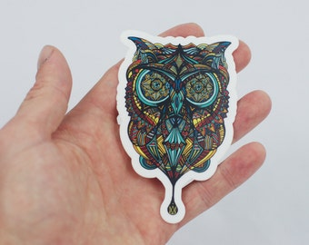 Owl Sticker, Hand Drawn Owl Design Laptop Sticker, Trippy Sticker, Tribal Owl Art, Art Sticker, Bumper Sticker, Owl Laptop Sticker, Color