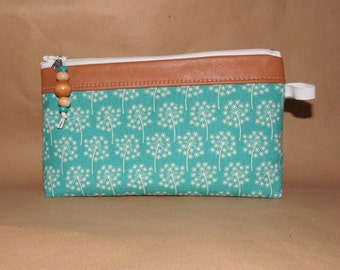 POPPY cosmetic bag, washingbag made of cotton, leather and wxed cotton