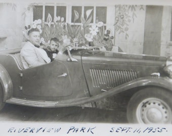 Cute Father & Son In Roadster 1950's Riverview Park Chicago Real Photo Postcard - Free Shipping