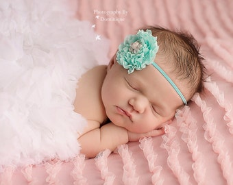 Vintage Rose with  Pearl Accents on Skinny Headband... Newborn Headband, Baby, Girls Photo Prop Bow