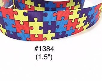 """3 or 5 yard - 1.5"""" Autism Awareness Puzzle Motif Grosgrain Ribbon  For Hair bow Craft Supply"""