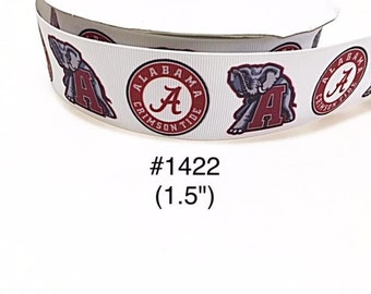 """3 or 5 yard - 1.5"""" Football Sport Letter A and Elephant on White Grosgrain Ribbon Hair bow"""