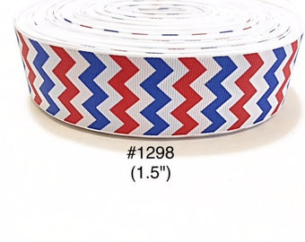 """3 or 5 yard - 1.5"""" Patriotic Red and Blue Chevron on White Grosgrain Ribbon Hair bow"""