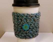 Coffee Cup Sleeve Cozy Take Out Cup Cozy Hand Crocheted Hand Made