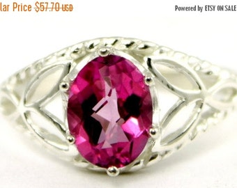 Summer Sale, 30% Off, SR137, Pure Pink Topaz, 925 Sterling Silver Ring