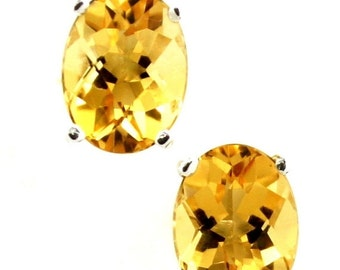 Summer Sale, 30% Off, SE002, 8x6mm Natural Geniune Citrine, 925 Sterling Silver Post Earrings