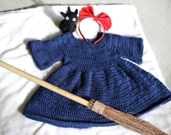 Studio Ghibli. Kiki's Delivery Service. Crochet Baby Dress. Crochet Dress. Ghibli Merch. Kiki and Jiji. Ghibli Cosplay. Children's Cosplay.