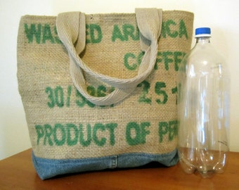 OOAK large Tote Bag---recycled repurposed coffee bean sack   PERU