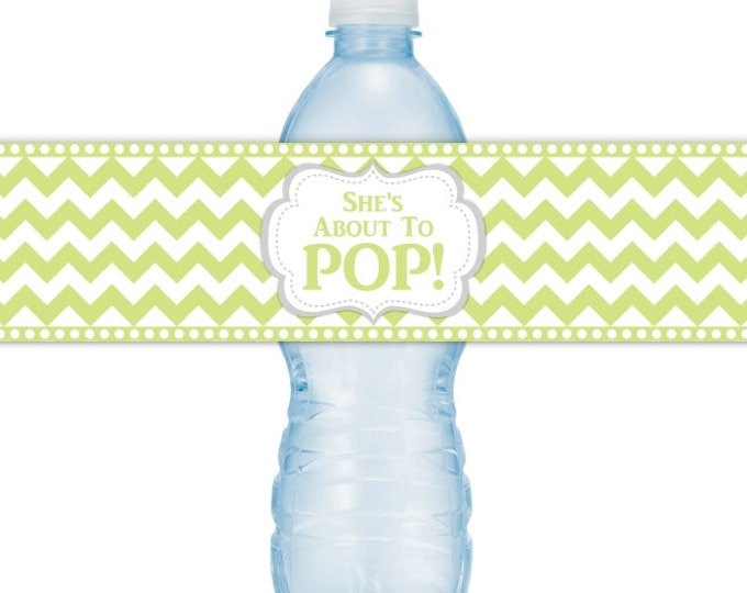 She's About To Pop Water Bottle Labels, Green Chevron About to Pop, INSTANT DOWNLOAD, About to Pop Baby Shower, you print, you cut, DIY