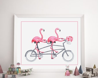 Pink flamingos on tandem bicycle print, cycling flamingos prints, kids wall art