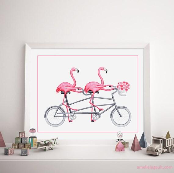affiche flamants roses bicyclette en v lo tandem affiche. Black Bedroom Furniture Sets. Home Design Ideas