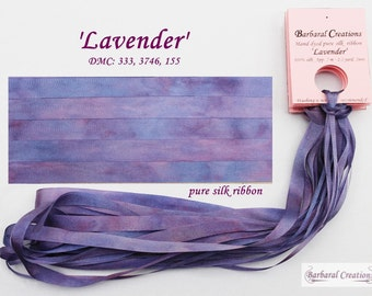 Hand dyed 7 mm wide pure silk ribbon, soie ruban - 'Lavender'