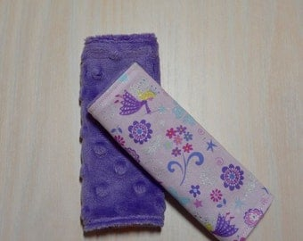 Car Seat Strap Covers - Pink & Purple Glitter Fairies, Fairy