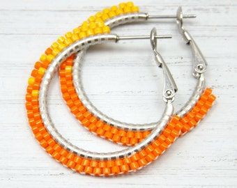 Fading Oranges Beaded Hoop Earrings - Small Orange Beaded Hoop Earrings - Orange Hoop Earrings - Jewelry Gift for Her