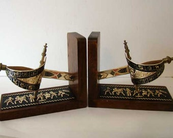 Sword bookends, Made in Japan, Sword bookends, vintage masculine bookends, wooden bookends