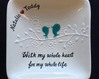 Personalized Ceramic Ring Dish, ring holder- Anniversary, Valentine's Day, engagement ring dish