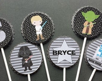 Black & Gray Star Wars Cupcake Toppers