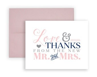 Wedding Thank You Card Set: Love & Thanks from the new Mr. and Mrs. | Blush Pink • Navy Blue • Grey | 4.25 x 5.5 folded note cards PRINTED