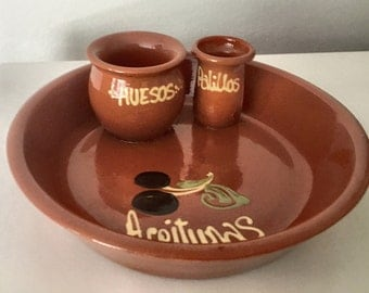 Tapas Plate, Olive Tray Serving Dish With Toothpick and Pit Holders, GlazeTerra Cotta, Made in Spain
