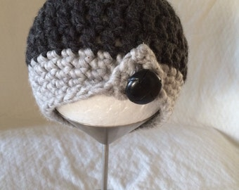 Crochet Winter Hat Baby- Black And Grey Wool With Button size 6-12m