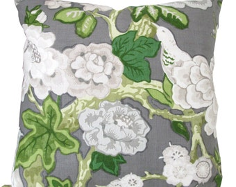 Designer Decorative Pillow Cover-Schumacher-Bermuda Blossom-Mary McDonald-Grey,Ivory Green Floral- Accent Pillow-Sofa Pillow-Single Sided