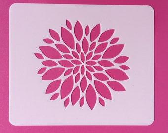 Reusable Flower Stencil, Mylar Flower Stencil, Zinnia Flower Stencil, Flower Template, Painting Stencil, Stenciling, Craft Stencil