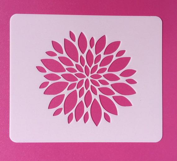 Zinnia Stencil Printable Reusable Flower Stenci...
