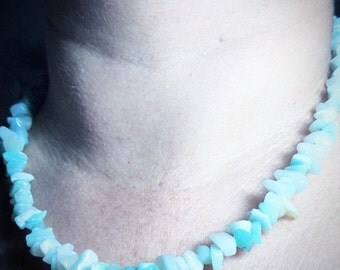 Necklace 44 cm around the neck with Chinese Amazonite