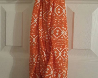 Orange and white patterned  Infinity Scarf Ultra soft sheer cotton blend