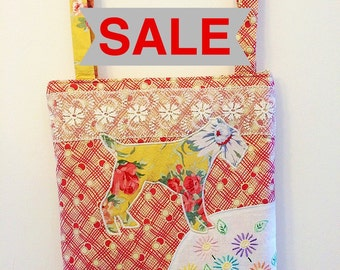 SALE!!! Handmade bag with terrier dog applique, lace and vintage embroidery