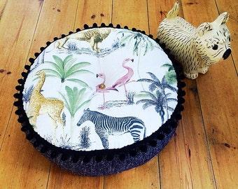 Handmade Floor cushion with lion, giraffe and flamingo fabric