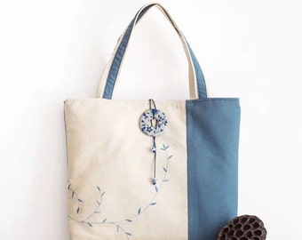 Handmade Painted Blue China Linen Cotton Tote Bag - Fashion Bags - Colorful Tote - Watercolor Printed Bag