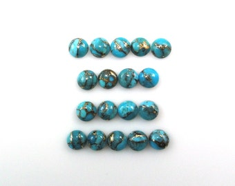 Blue Copper Turquoise Cabochons 5mm Round Approximately 8.00 Carat  (5466)