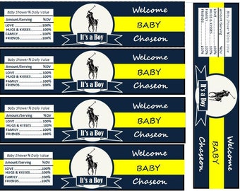 Polo Themed Water bottle Labels-Digital File Only