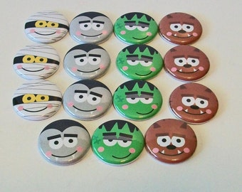 Fun Halloween Monster Faces 15 1 Inch Flat Back Embellishments Buttons Flair Great for Bow Making