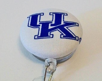 Fun Blue and White Wildcats UK Inspired Fabric Button Retractable Badge Reel Clip