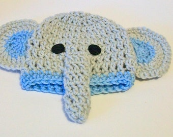 So Cute Light Blue and Gray Elephant Hand Crocheted Baby and Childrens Hat Great Photo Prop 5 Sizes Available