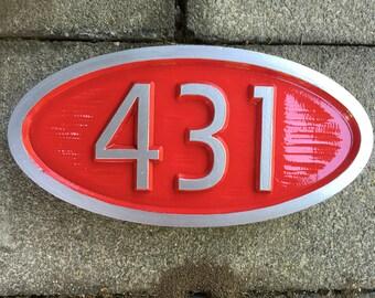 Custom Carved House number / Street Address Sign - Mid Century Modern Font