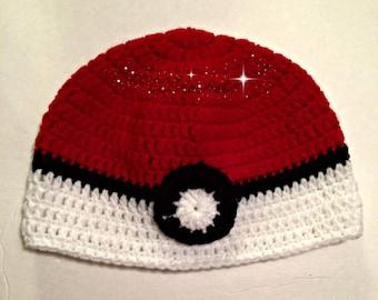 Crochet Pokeball Hat, Crochet Hat, Pokeball Hat, Pokemon Hat, Knit Pokeball Hat