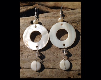 Round Shell and Pearl Earrings