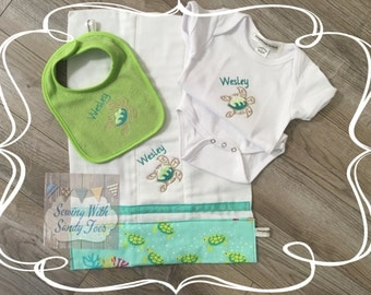 Baby Gift, Baby shower gift, Personalized Baby Gift Set, Hawaiian Turtle, Onesie, Baby Bib, Burp Cloth, Baby Hat, Baby Layette, Baby Shower