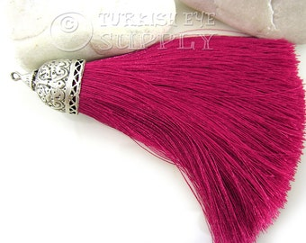 Extra Large Thick Cyclamen Pink Tassel, Silver Plated Cap, Turkish Hand Made Silk Thread Tassel Findings, Tassel Necklace Jewelry Supplies