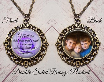 SALE! Double Sided Photo Pendant - Mothers hold their child's hand-  - Cyber Monday