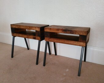 Slim bedside tables rustic industrial set of two finished in medium oak