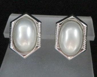 Trifari Faux Pearl Earrings, Vintage Silver Tone Pierced Stud Earrings, Signed Designer Jewelry
