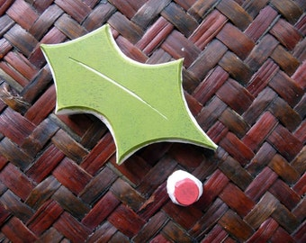 Holly and Berry Rubber Stamp, Hand Carved, Nature Leaf Stamp, Christmas Ideas