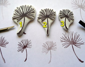 Dandelion Rubber Stamp, Craft Stamp, Dandelion Seed, Hand Carved Stamps, Scrapbooking